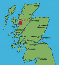 Map of Scotland showing Kyle of Lochalsh